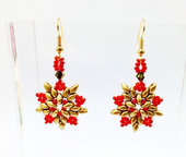 Beadwork SuperDuo Star Earrings - Gold and Red
